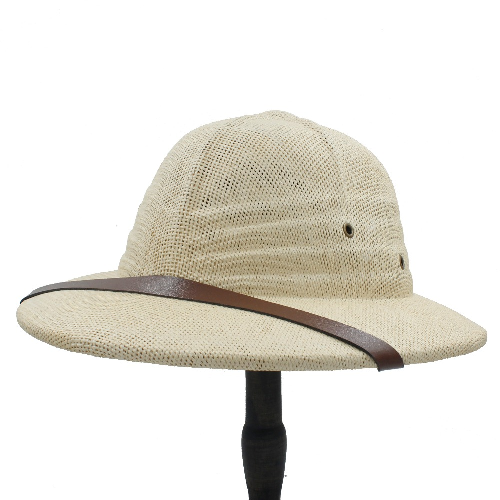 buy online c8db0 30b76 Novelty Toquilla Straw Helmet Pith Sun Hats For Men Vietnam War Army Hat  Dad Boater Bucket