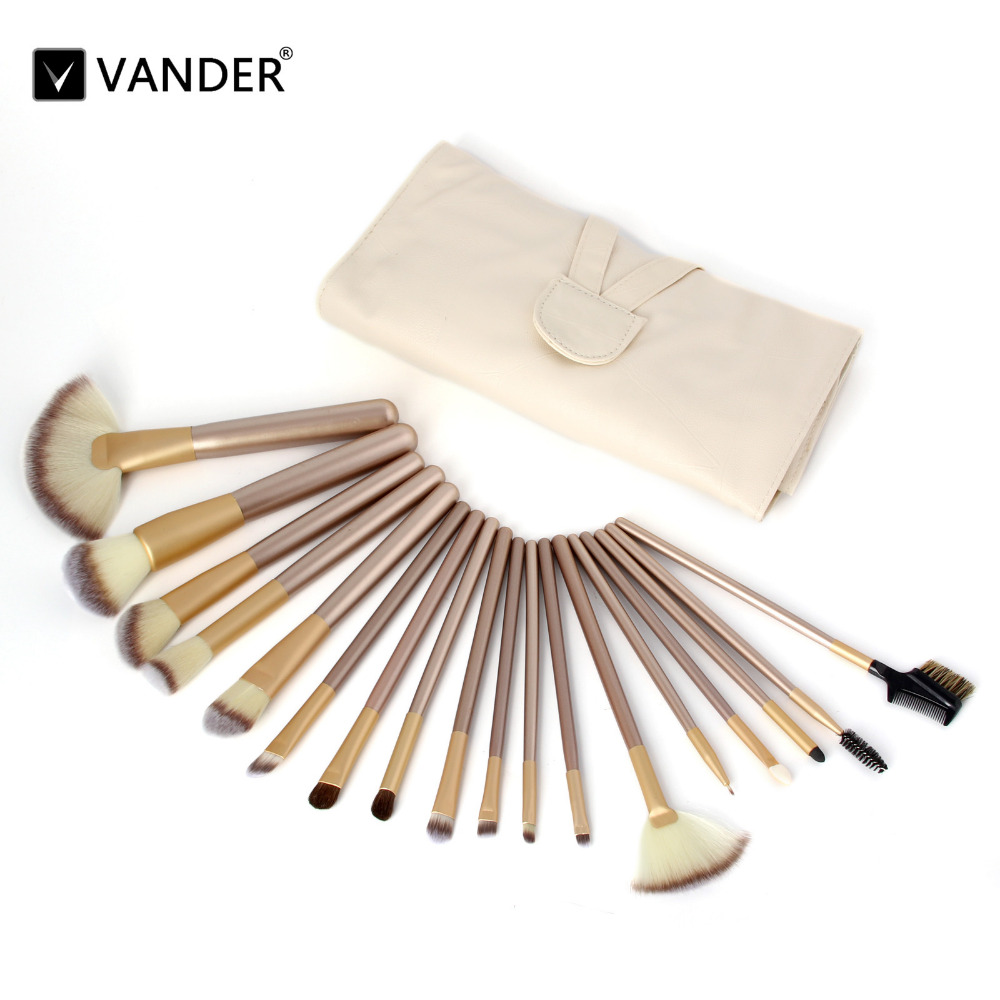 Vander 18Pcs Professional Makeup Brushes Set Champagne Foundation Powder Eyeliner Lip Beauty Tools Toiletry Brush + Leather Case vander 8pcs professional rose pink