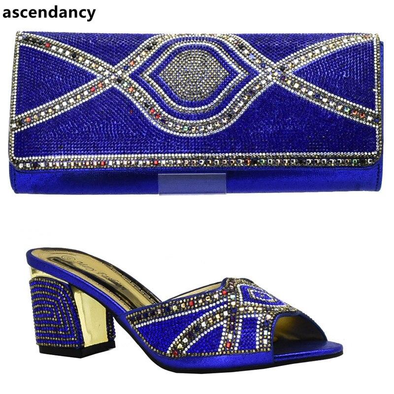 Italie Mariage Noir Nigérian Mis De Avec Et rouge 2019 or Ensemble Sac Mode purple blue Dernières Chaussures Femmes En Strass Décoré 1qaYYzw