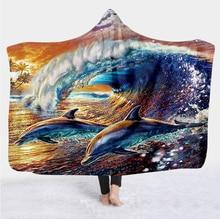 Plstar Cosmos Cute dolphin colorful Blanket Hooded Blanket 3D full print Wearable Blanket Adult men women Blanket style-1 flamingos print blanket 1 pc