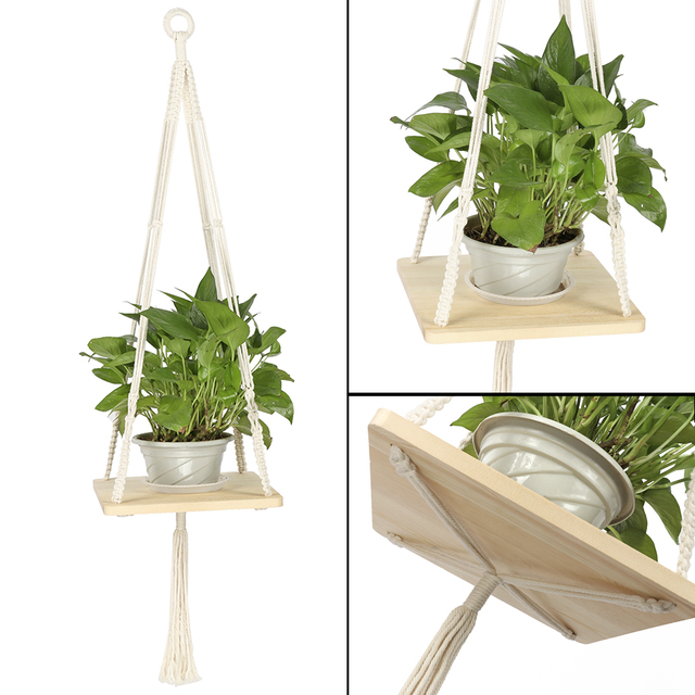 Macrame Shelf Planter Hanger For Indoor Plants With Wooden Shelf