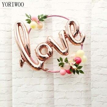 YORIWOO Rosa oro gallina fiesta amor globo carta de aluminio globo despedida de soltera accesorios decoración de la Boda nupcial ducha favores