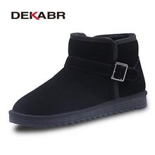 DEKABR Brand Winter Woman Snow Boots Genuine Cow Suede Ankle Buckle Strap Boots Female Short Plush Warm Shoes Plus Size 35~47
