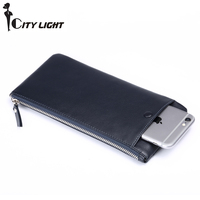 Brand Wallets Men Long Design Layer Cowhide Wallet Soft Classic Leather Wallet Genuine Leather Casual Day