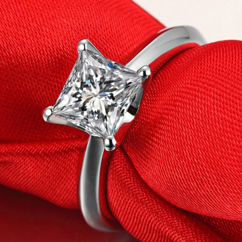 Carré AAAAA haute qualité cubique Zircon bagues de fiançailles pour les femmes classique S925 en argent Sterling blanc or couleur CZ anneaux