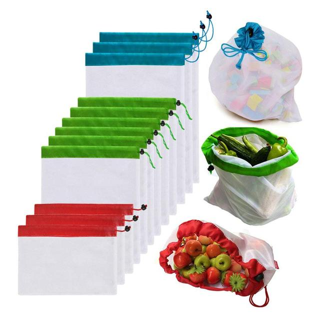 Pokich 12pcs Reusing Eco-friendly Reusable Grocery Produce Bags Stop Wasting Plastic Mesh Bags For Storage Fruit Vegetable 1