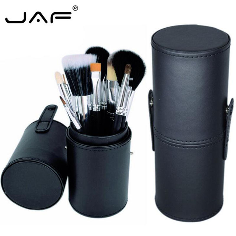 JAF Brand 12 Pcs Makeup Brushes +Leather Brush Holder Kit Tube Convenient Portable Leather Cup Natural Hair Synthetic Maquillage dental kerr finishing polishing assorted kit occlubrush cup brushes 1set