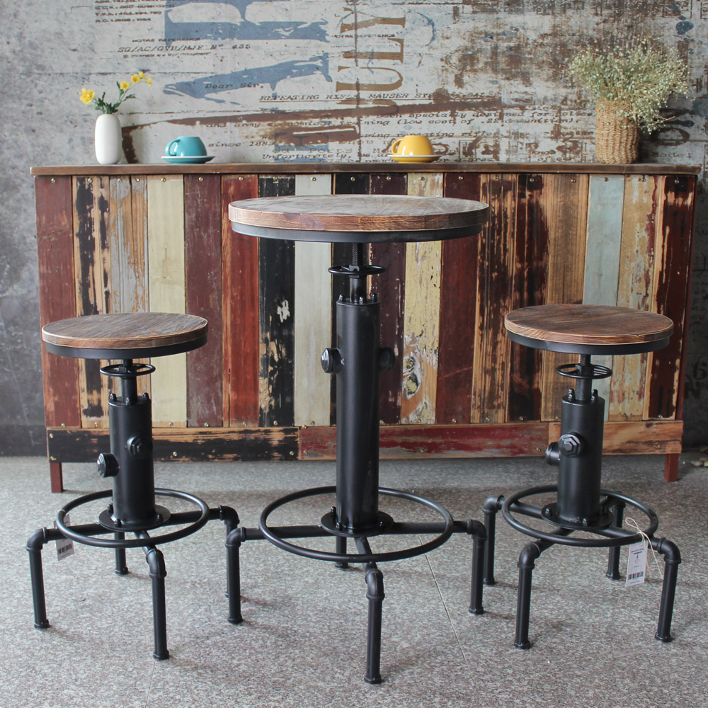 Bar Stools Morden Pinewood Top Round Table Chair Height Adjustable Swivel Counter Bistro Pipe Style Kitchen Dining Table Chair