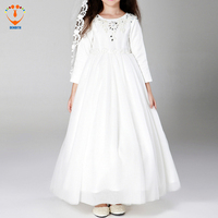 2017 New Arrival Girls Long Sleeveless Princess Party Dress Bow Children Clothing Girls Long White Lace