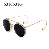 ZUCZUG Vintage Steampunk Sunglasses Men Round DesignSteam Punk Metal Clamshell Sunglasses Women Coating Reflective Sunglasses