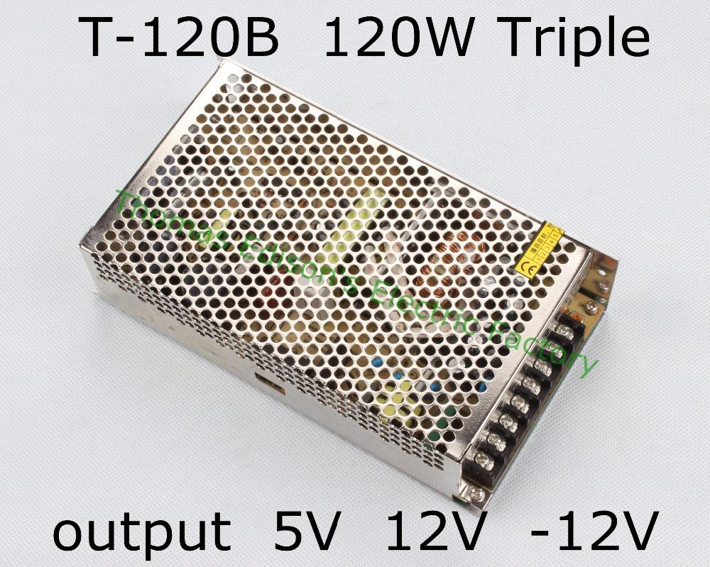 Triple output power supply 120w 5V 11A, 12V 4.5A, -12V 1A power suply T-120B ac dc converter good quality 100w triple output switching power supply 5v 12v 12v 3a 1a 0 5a power suply t 100b high quality ac dc converter