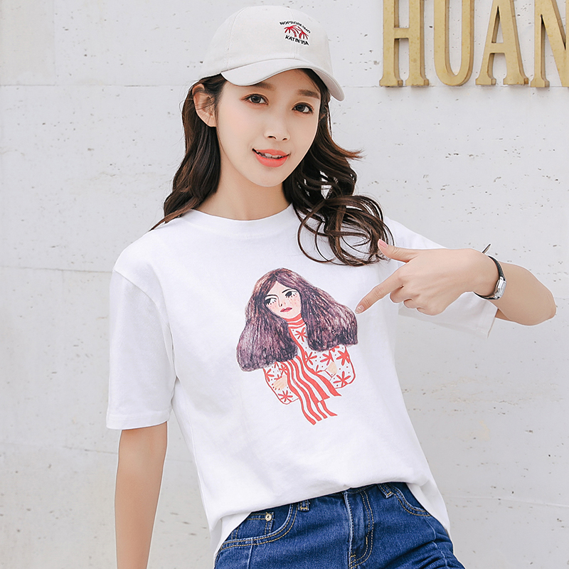 long hair lady printed summer 2018 t shirt cotton 100% white shirt k pop harajuku kawaii poleras t-shirt das mulheres tee shirt