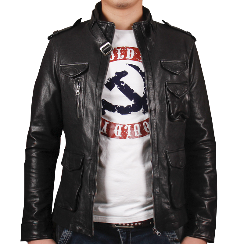 b9c11b5d952 HARLEY DAMSON Men Black Casual Leather Jacket Plus Size XXXL Genuine  Sheepskin Men Winter Classic Slim