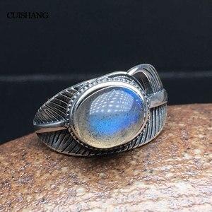 Image 3 - CSJ 100% 天然ラブラドライトリングスターリングシルバー女性ファムレディウェディング婚約指輪パーティーギフトファインジュエリー