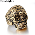 30mm Rock N' Roll Gothic Carved Pattern Black/Gold Tone Skull Mens Boys 316L Stainless Steel Ring Wholesale Gift HRM22