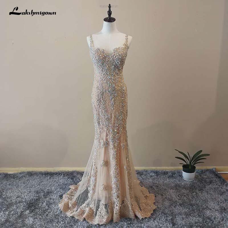 Elegant Gold Evening Dresses Mermaid 2018 Sweep Train with Beading New Sexy Spaghetti Strap Sleeveless Prom Dresses