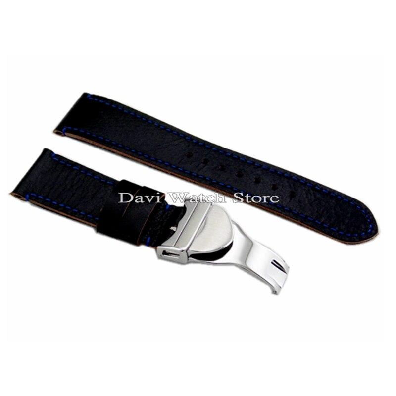 22mm Corgeut noir Bracelet En Cuir 316L Boucle Déployante montre Bandes