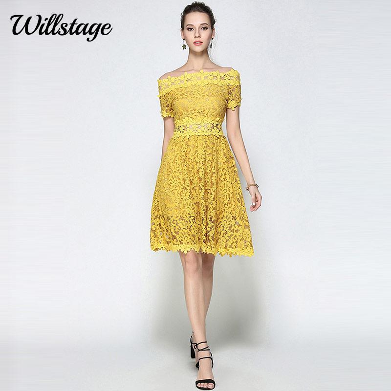 Willstage դեղին ժանյակավոր զգեստ Կանանց - Կանացի հագուստ - Լուսանկար 1