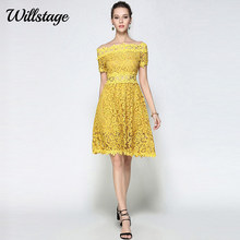 Willstage Yellow Lace Dress Women Sexy Hollow Out off the shoulder Slash neck Floral Mesh Party Dresses 2018 Summer Vestido robe