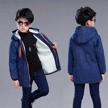 Boys plus velvet thick children's clothing long windbreaker winter warm 2018 cotton coat big boy denim jacket shirt