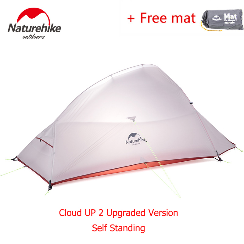 Naturehike CloudUp 2 Person Double Layers Camping Tent Ultralight Backpacking Hiking Tent Shelter Waterproof 20D 210T NH15T002-T 210t oudoor light weight backpacking ultralight camping rodless pyramid tent for hiking camping fishing wind firm waterproof