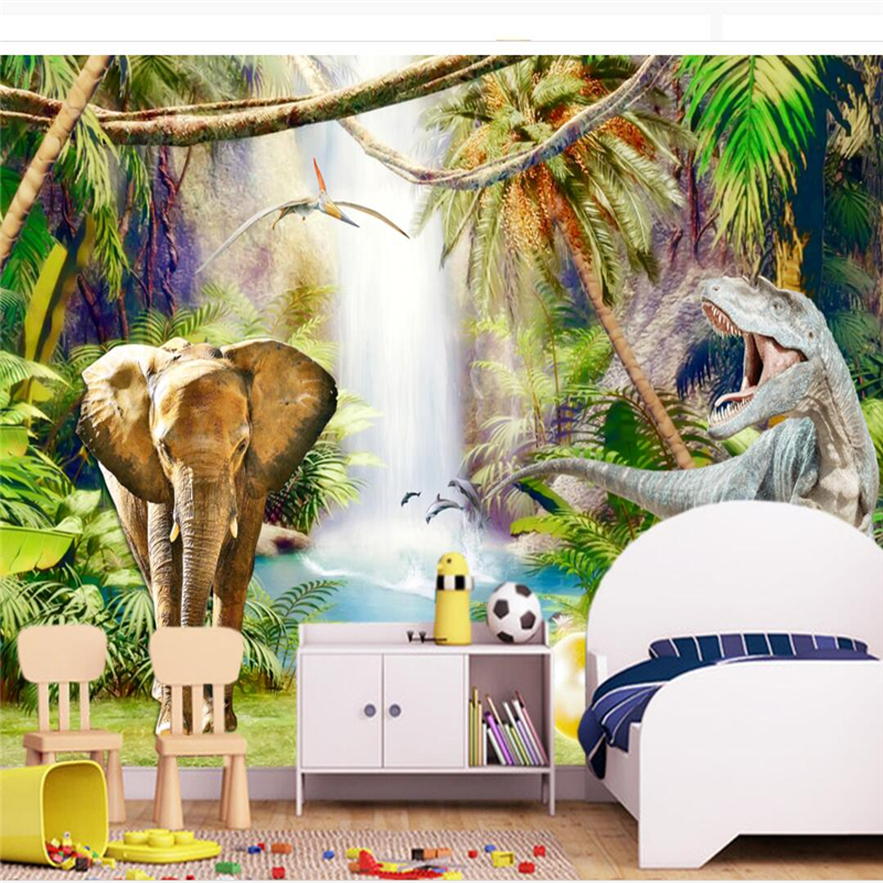beibehang papel de parede Custom Wallpapers 3d Photo Mural Original Forest Dinosaurs Kids Room Background Wallpaper papier peint