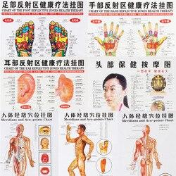 7 pçs/set acupuntura massagem ponto mapa chinês & inglês meridiano pontos de acupressão cartazes gráfico parede mapa para ensino médico