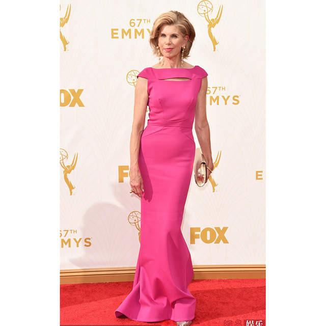 Online Shop Christine Baranski 67th Emmy Awards Red Carpet Dresses Hot Pink Mermaid Formal Dress Celebrity Dresses Mother Dress Aliexpress Mobile
