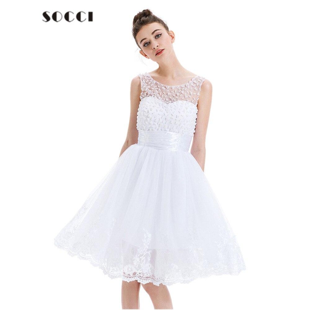 2017 nuevo encaje blanco cocktail dress tul sin mangas apliques de perlas corto