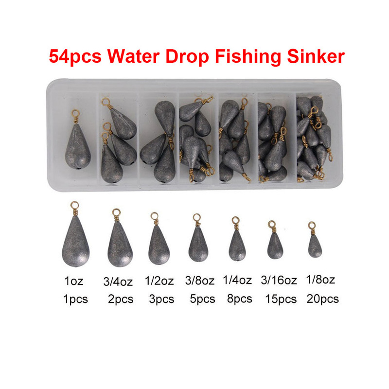 Hyaena 54pcs Lead Fishing Sinker With Ring Carp Fishing Water Drop Shaped Weights Bass Casting Sinkers Set With Box