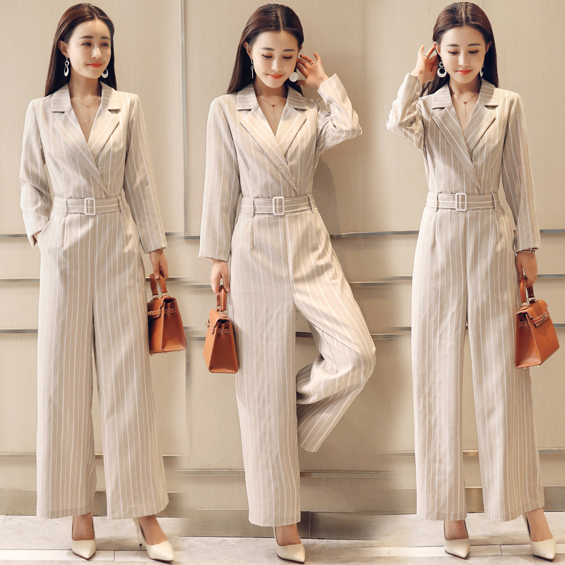 Striped Wide Legged One Piece Pants Jumpsuits Chic Loose Jumpsuit Sashes Bodysuit Women Overalls Female Macacao Feminino