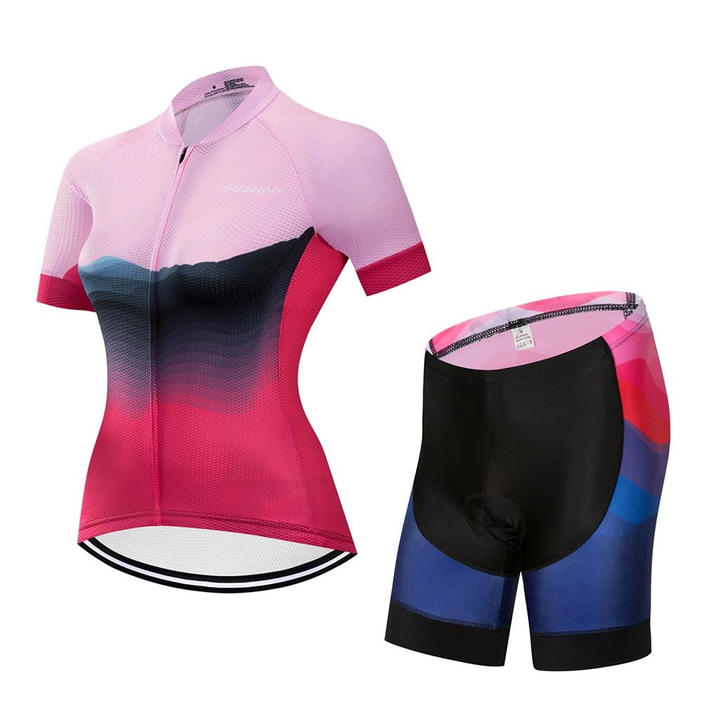 SUSHAN séchage rapide été femmes vtt vélo vêtements de cyclisme respirant vélo vêtements Ropa Ciclismo UV cyclisme Jersey ensemble|Jeux de vélo| |  -
