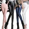 2016 Outono Inverno Calças Quentes mulheres Calças De Couro PU Lápis Elástica Calças Skinny Moda das Mulheres Apertadas Calças Stretch Fleece