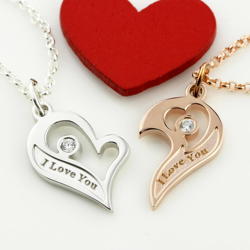 177f42011c Engraved Couple's Breakable Heart Necklace With Birthstones Personalized Heart  Pendant Jewelry for Lovers-in Pendant Necklaces from Jewelry & Accessories  on ...