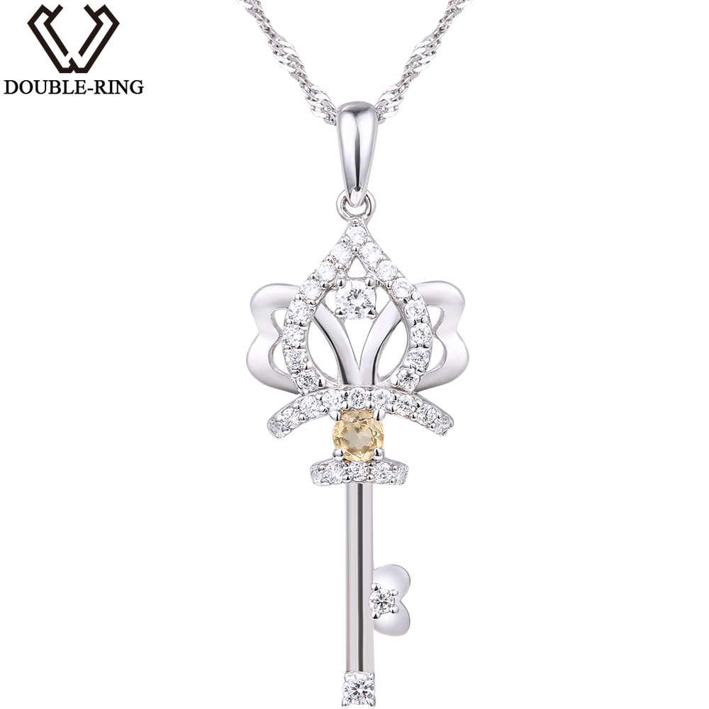 DOUBLE-R Citrine Necklaces Women Solid 925 Sterling Silver Key Pendant Classic Fine wedding Anniversy jewelry for noble women DOUBLE-R Citrine Necklaces Women Solid 925 Sterling Silver Key Pendant Classic Fine wedding Anniversy jewelry for noble women