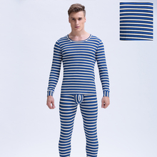 Men Long Johns Underwear Set Winter Suits Round Neck Cotton Base Layer for Man Thermal Long John 1 set