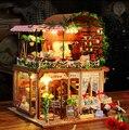 Время путешествия DIY Кукольный дом 3D Миниатюрные Деревянные собраны + Музыкальная шкатулка + голосовой свет Ручной Работы комплекты Строительство модель Караван