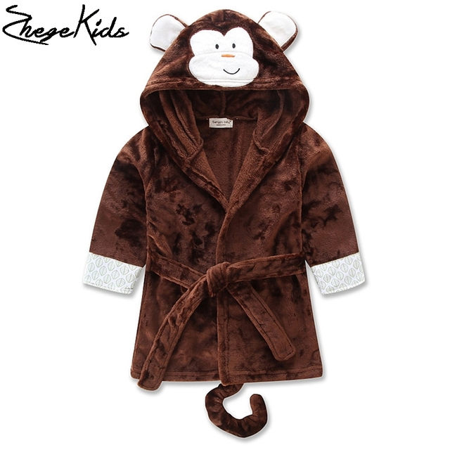 Animal dos desenhos animados das Crianças Vestes Moda Primavera Outono Com Capuz infantil Cothing Bonito Macaco Coruja Pinguim Meninos Roupões de Banho Meninas
