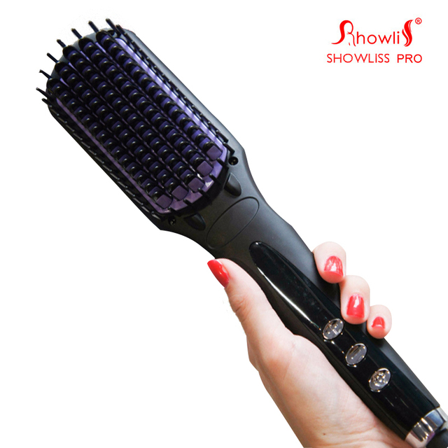 SHOWLISS  Digital  Hair Straightener Brush Comb Detangling Straightening Irons Hair Brush EU/ US/ UK Plug