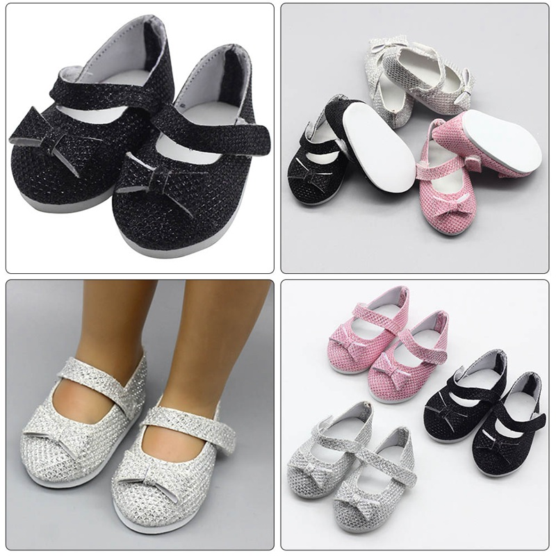 Black Boots Casual Shoes with Metal Button for 18inch American Doll Kid Gift