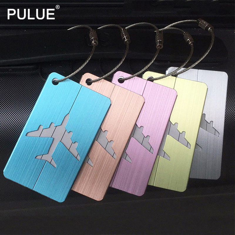 New Upgraded Metal Brushed Luggage Tag Aluminium Alloy Baggage Name Tags Travel Accessories Luggage Checked Boarding Bags Label