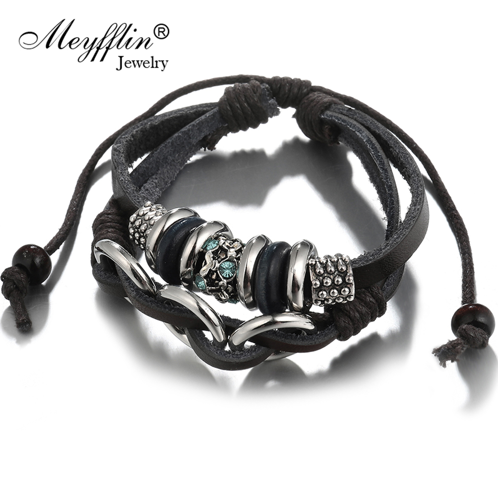 Meyfflin Fashion Charms Bracelets for Women Jewelry 2017 Fashion Alloy Circles Round Multilayer Leather Bracelet Men