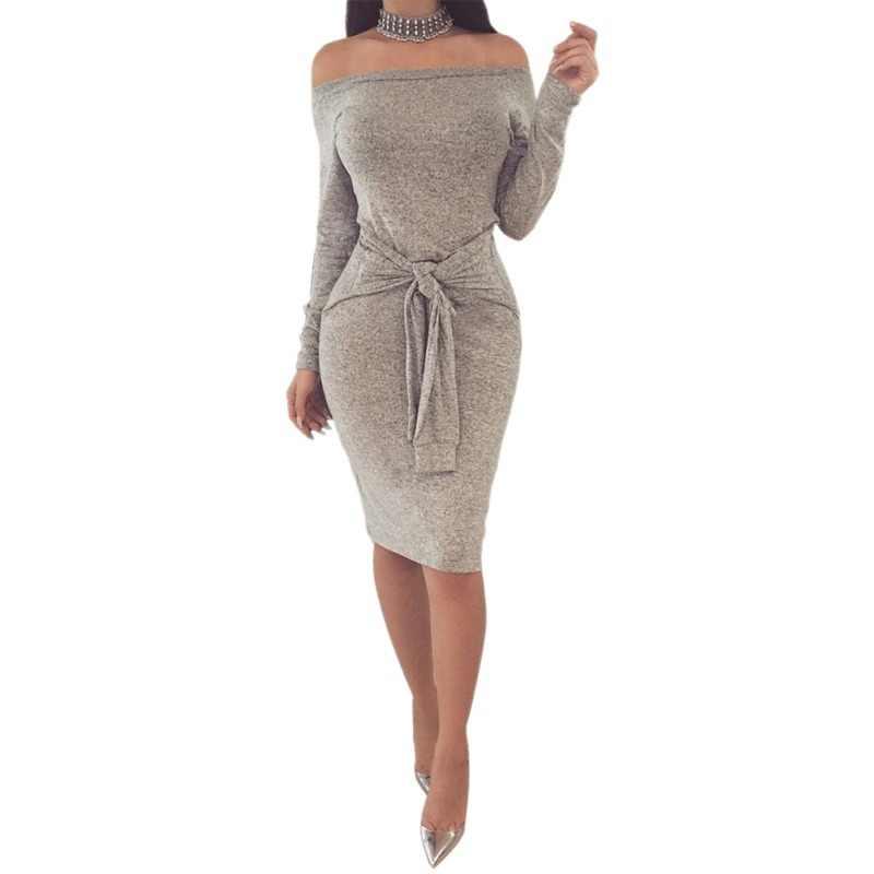 ... Autumn Spring Women Dresses Women Knee-Length Empire Bodycon dress Sexy  Slash neck Women Sheath ... 13660aaae11d