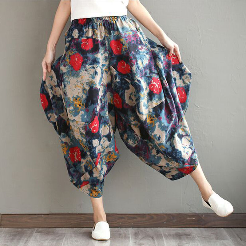 Women Pants Elastic Waist Loose 2017 Summer Spring Fashion Cotton Linen Women Clothes Pockets Vinage Casual Trouser