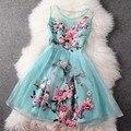 Mujer vestido de verano 2016 nueva alta calidad del bordado Retro ropa sin mangas delgado XXL vestido de primavera partido elegante de la flor vestidos