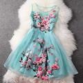 woman dress summer 2016 new High quality embroidery Retro clothing sleeveless Slim spring Dress XXL elegant Flower party dresses