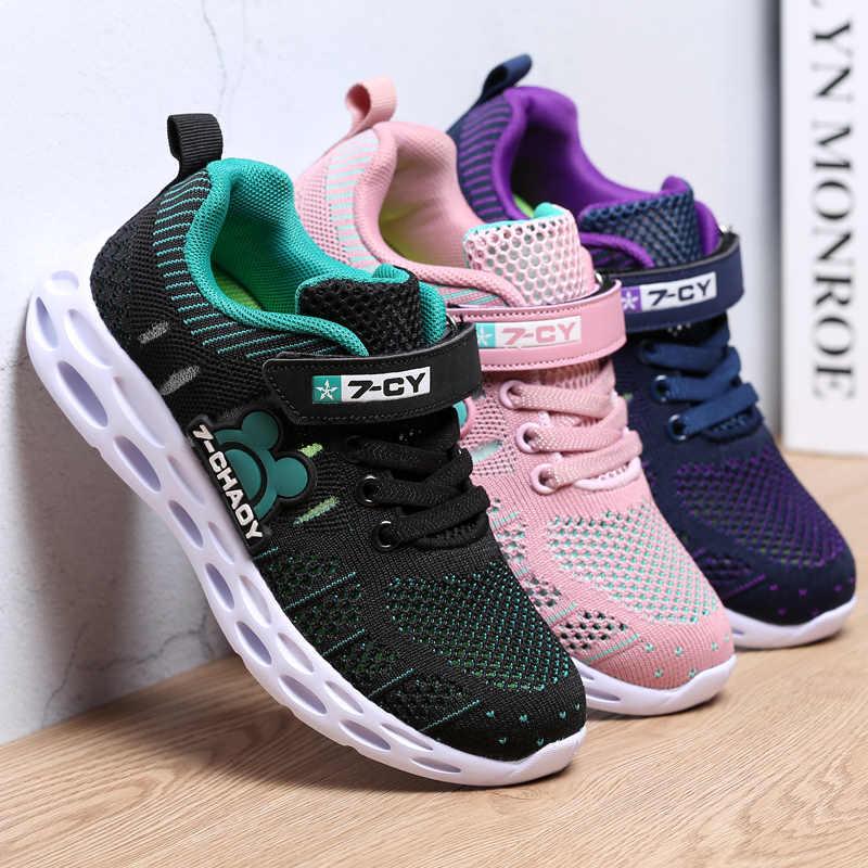 2019 ฤดูใบไม้ผลิรองเท้าผ้าใบเด็กรองเท้าแฟชั่น Breathable สบายสีชมพูกีฬารองเท้าวิ่งรองเท้าสำหรับสาวเด็กชายสบายๆรองเท้าเด็ก