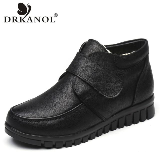 DRKANOL Fashion Echtes Leder Runde Kappe Frauen Schnee Stiefel Winter Flache Stiefeletten Frauen Baumwolle Schuhe Plüsch Warme Botte Femme