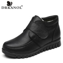 DRKANOL Fashion Genuine Leather Round Toe Women Snow Boots Winter Flat Ankle Boots Women Cotton Shoes Plush Warm Botte Femme