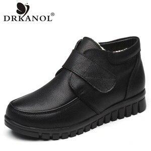 Image 1 - Drkanol moda couro genuíno dedo do pé redondo mulheres botas de neve inverno botas de tornozelo plana sapatos de algodão de pelúcia quente botte femme